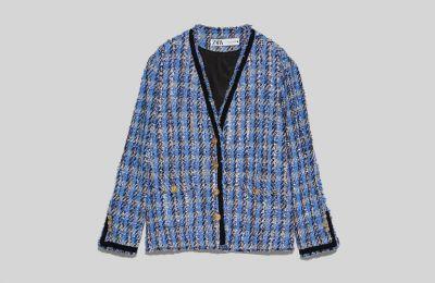 Γαλάζια ζακέτα τουΐντ €89.95 από Zara