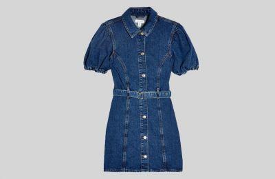 Puff sleeve denim φόρεμα €49 από Topshop