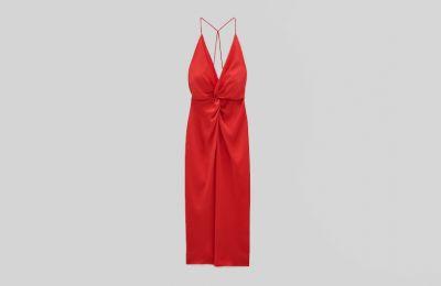 Σατέν κόκκινο φόρεμα από Zara