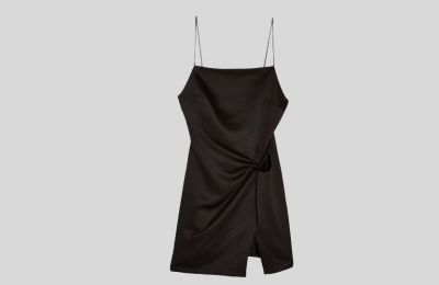 Mαύρο σατέν mini φόρεμα €42 από Topshop
