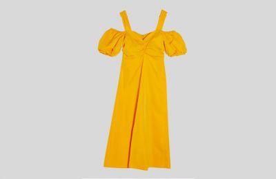 Midi φόρεμα με puffy sleeves €68 από Topshop