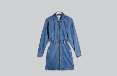 Denim μακρυμάνικο φόρεμα €55 από Topshop