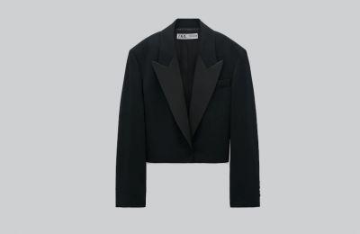 Cropped blazer σε φαρδιά γραμμή €69.95 από Zara