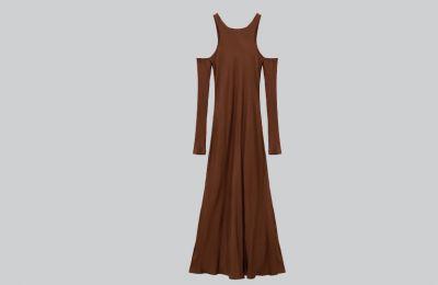 Καφέ maxi φόρεμα €39.95 από Zara