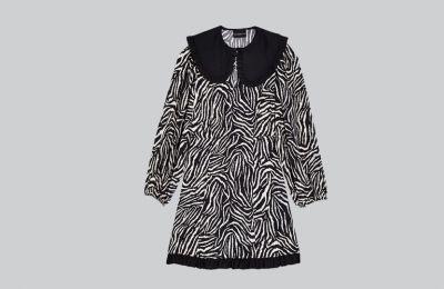 Μαυρόασπρο zebra print φόρεμα €55 από Topshop