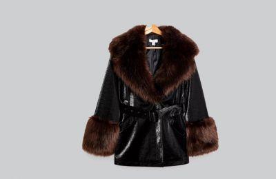 Μαύρο κροκό παλτό με Faux Fur από Topshop