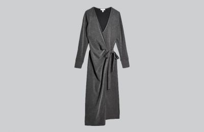 Γκρι wrap midi φόρεμα €40 από Topshop