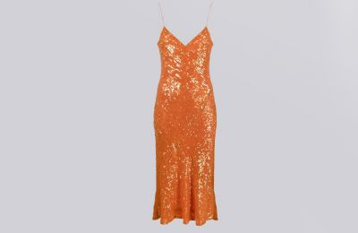 Πορτοκαλί midi cocktail φόρεμα €744 από Amicci